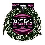 Ernie Ball p06066geflochten Instrument Kabel, schwarz/grün, 25ft