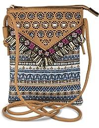 styleBREAKER Minibag Umhängetasche mit Ethno Streifen Muster, Fransen und Cutout Muster, Schultertasche, Tasche, Damen 02012130