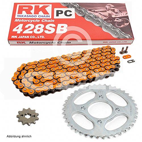 Kettensatz Suzuki RM 85 L Big Wheel 02-15, Kette RK PC 428 SB 122, offen, ORANGE