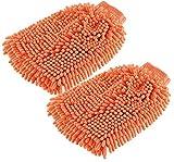 infactory Auto-Waschhandschuh: Mikrofaser-Wasch-Handschuh mit Scheuer- und Mikrofaser-Gewebe, 2er-Set (Waschhandschuh für Autopolitur)