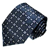 Lorenzo Cana - Luxus Marken Krawatte aus 100% Seide - Taubenblau Blau Karo Muster - 84118