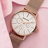 Gigandet Quarz Damen-Armbanduhr Minimalism Multifunktion Uhr Datum Analog Edelstahlarmband Rotgold Silber G38-008 - 2