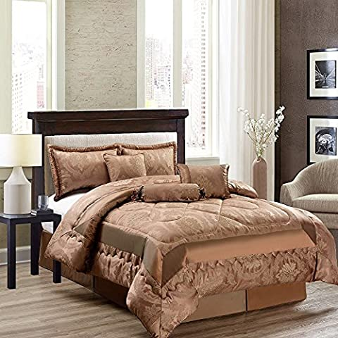 New Luxury 7Pcs (Piece) Jacquard Quilted Bedspread Comforter Set Bedding Sets + 2 Pillow Shams Double & King Free P&P (DOUBLE, Betty Caramel)