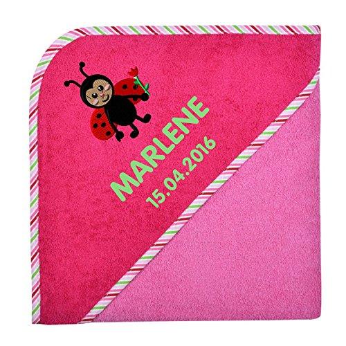 Wolimbo Kapuzenbadetuch mit Ihrem Wunsch-Namen und Wunsch-Motiv - Format: 100x100cm - Farbe: pink Rand gestreift - Das individuelle und kuschelig weiche Badehandtuch für Mädchen und Jungs