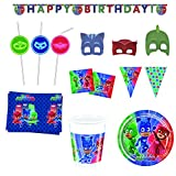 JT PJ Masks Helden Kinder Geburtstag Party Set Catboy Owlette Gekko Teller Becher Girlande Servietten Masken Trinkhalme