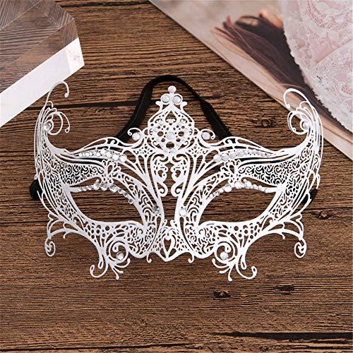 Xeb Masquerade Maske/Half Face Masks Makeup/Karneval Maske/Lace Masquerade Maske/Cosplay PartyMetal-inkrustierte Maske Zeigen Requisiten, weiß
