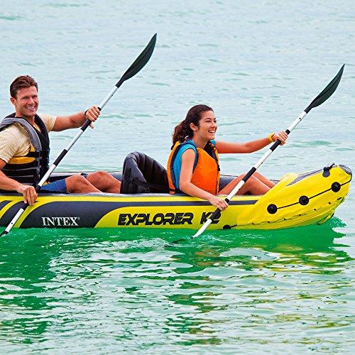 61BlFEDFlgL. SS500  - Intex Explorer K2 Kayak, 2-Person Inflatable Kayak Set with Aluminum Oars and High Output Air Pump