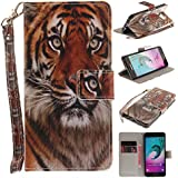 Ooboom® Samsung Galaxy A3 2016 Coque Faux Cuir Flip Housse Étui Cover Case Wallet Pochette Supporter Porte-Cartes de Crédit pour Samsung Galaxy A3 2016 - Tigre