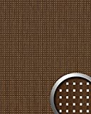 Wandpaneel Quadrat Dekor Holz Design WallFace 12540 3D QUAD Wandplatte selbstklebend tabac-braun silber   2,60 qm