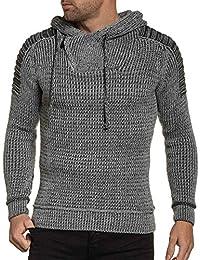 BLZ jeans - Pull gris maille homme à capuche
