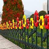 Sungmor, Garten- / Lattenzaun, Design: Tulpen und Sonnenblumen, Kunststoff, für Wiese / Blumenbeete / Pflanzumrandung / Wegumrandung