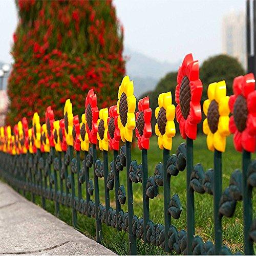 sungmor Garten Lattenzaun, Tulpen & Sonnenblume Einfassungen, Kunststoff Gras Rasen Beeten Pflanze Grenzen, Landschaft Weg Platten (Sonnenblume-grenze)