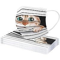 KNAGHT 10 Pezzi Maschere_Viso_USA e USA e Getta, Stampa a Gatto Nontessuti Mascherina_Chirurgica_Facciale Traspirante…