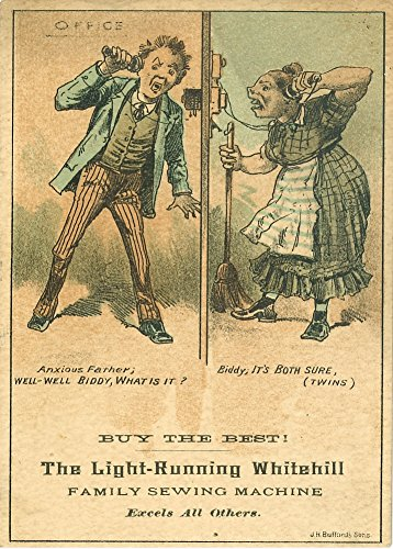 Vintage abiti e accessori il light-running Whitehill macchina da cucire, America, anni '1800, 250gsm lucido arte della riproduzione A3poster