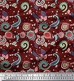 Soimoi Rot Baumwoll-Popeline Stoff Paisley & Blumen kunstlerisch Drucken Nahen Stoff 1 Meter 42 Zoll breit