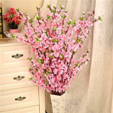 Pinkdose Pink: 50Inch Artificial Cherry Spring Plum Peach Blossom Branch Silk Flower Tree for DIY Wedding New Year Party Home Decor P20