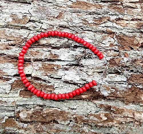 Homme Herren bracelete rot Sandelholz Türkis Regenbogen-Armband mit Perle Homme Mens bracele, 4mm ()