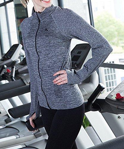 Smile YKK Manteau Sport Femme Veste Manches Longues Yoga Sport Mode Gris