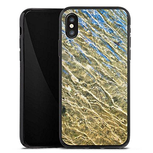 Apple iPhone X Silikon Hülle Case Schutzhülle Wasser Struktur Meer Silikon Case schwarz