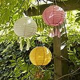 Lights4fun - Set di 3 Lanterne Colorate Solare Cinese di Giardino con Luce LED Blanco Caldo