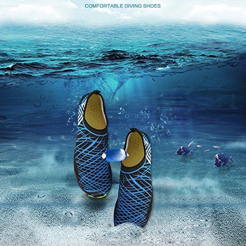 SAGUARO® Unisex Badeschuhe Aquaschuhe Wasserschuhe Schwimmschuhe Weiche Atmungsaktiv Leicht Rutschfest Schuhe für Damen Herren Blau