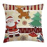 Die besten Kissenbezug Weihnachtsschmuck - Weihnachtsschmuck Überwurf Kissen Cover, Cute Santa mit Rentier Bewertungen