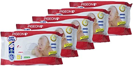 Pigeon Chamomile Baby Wipes (Pack of 5, 80 Sheets per Pack)