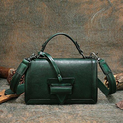 Nouvelle mode rétro-minimaliste en acier inoxydable épaule bandoulière sac à main Dark Green