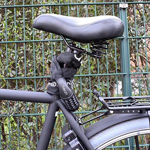 nean Fahrrad-Ketten-Schloss, Zahlen-Code-Kombination-Schloss, Stahlkettenglieder, 6 mm x 900 mm - 5