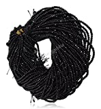 #7: 2 Strands of Black Color Quartz Faceted Rondelle Loose Gemstone Beads, 2x4 mm 15 inch length, black color, for jewelry making, wholesale price, exclusively by Ratnagarbha.