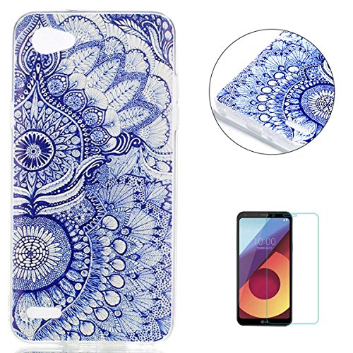 KaseHom Case for LG Q6 TPU Hülle Bunt Dünn Gummi Silikon Gel Entwurf [Frei HD Displayschutzfolie] Stoßfest Rutschfest Schutzhülle Weicher dünner TPU Fall-Stammes-Blumen -