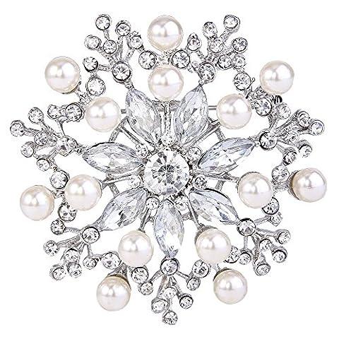 EVER FAITH® Austrian Crystal Wedding Snowflake Simulated Pearl Brooch Silver-Tone A11943-1