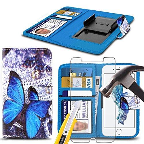 Preisvergleich Produktbild (Blau Buterfly 144 x 70 mm) PRINTED DESIGN Fall für Vernee Thor 4g Fall-Abdeckungsbeutel Qualitäts-Thin-Effekt Holdit Federklammer Clip auf Adjustable Buch von i-Tronixs