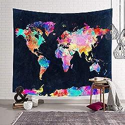 Morbuy Tapiz Pared de Creativo Decoración Tapices Mapa del Mundo Impreso Tapicería Cubierta del Sofa Manteles Cortina Picnic Blanket Playa Accesorio Casero (Pequeño (130 x 150 cm), Fondo Negro)