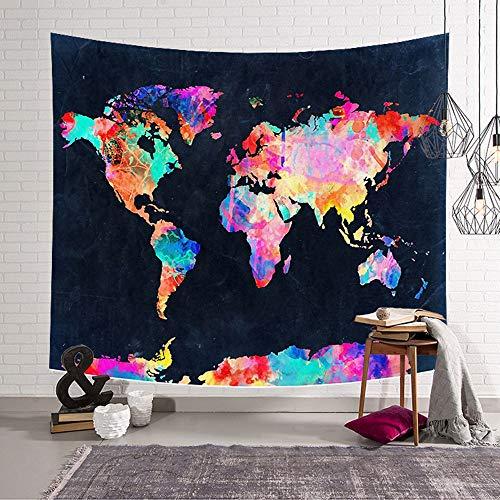 Morbuy Tapiz Pared de Creativo Decoración Tapices Mapa del Mundo Impreso Tapicería...