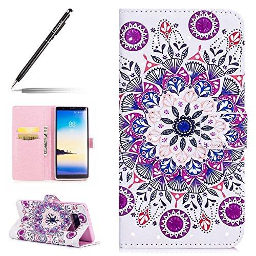 Uposao Kompatibel mit Handyhülle Galaxy Note 8 Glitzer Leder Tasche Schutzhülle Brieftasche Handytasche Ledertasche Lederhülle 3D Bunt Muster Bling Glänzend Klapphülle,Indische Mandala Blumen