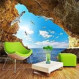 Abihua Wandbilder Benutzerdefinierte Wandbild Tapete Für Wand 3D Stereoskopische Seascape Foto Tapeten Für Wohnzimmer Schlafzimmer Tv Sofa Hintergrund Wandabdeckung 330Cm X 210Cm