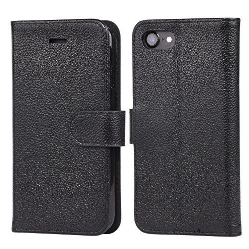 Arae iPhone 7 Hülle, iPhone 8 Hülle, Handyhülle Tasche Leder Flip Cover Brieftasche Etui Schutzhülle für iPhone 7/8 (Echtes Leder Schwarz)