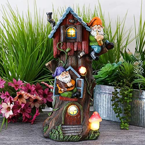 TERESAS COLLECTIONS Giardino Solare Figurine Albero Fata Casa con Gnomi Impermeabile Elfenhaus 37 Resina Giardino Esterno Luci solari LED Decorazione