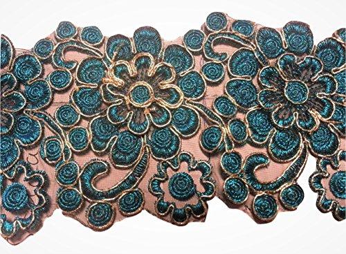 Glitzer Bordüre Sari Borte Spitze Stoff Stickerei breit für Kleider farbig zum nähen Farbvarianten (türkis)