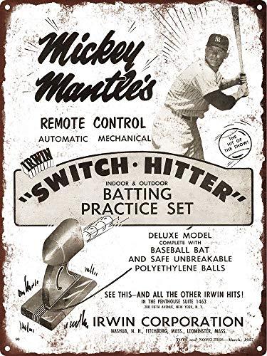 Metallschild 1957 New York Yankee Mickey Mantle Switch Hitter Baseball 20,3 x 30,5 cm - Mickey Mantle Yankees
