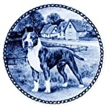 American Staffordshire Bull Terrier: Danish Blue Porcelain Plate #7327 by Skan Lekven