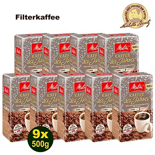 Melitta Kaffee des Jahres 2018 100{5c87ce1bc55975679f24e00b55a2125efaf52bd854990132ddda2c610c378535} Arabica Filterkaffee 9x 500g (4500g) - Melitta Café gemahlen