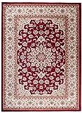 Tapiso Colorado Teppich Wohnzimmer Klassisch Kurzflor Rot Beige Creme Floral Medaillon Ornament Muster Traditionell Orientteppich ÖKOTEX 200 x 300 cm