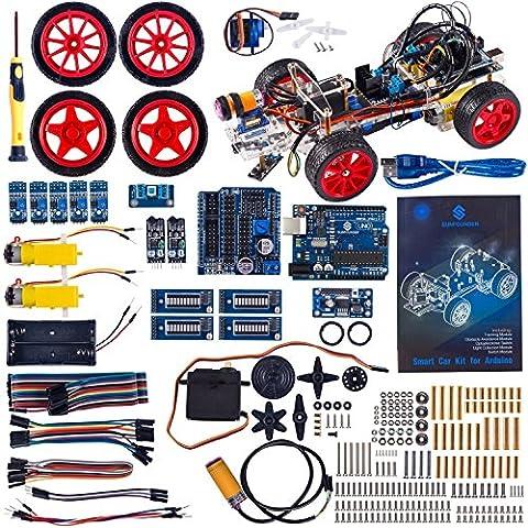 SunFounder Robots Model Arduino Car kit Electronics DIY Smart Toys Servo Motor Uno R3 Sensor (Transparent Acrylic)