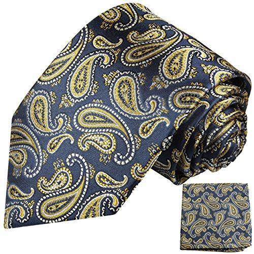 Cravate homme bleu or paisley ensemble de cravate 2 Pièces ( longueur 165cm )