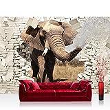 Vlies Fototapete 208x146cm PREMIUM PLUS Wand Foto Tapete Wand Bild Vliestapete - Tiere Tapete Elefant Tier Steinwand Steine Durchbruch Rüssel beige - no. 2430