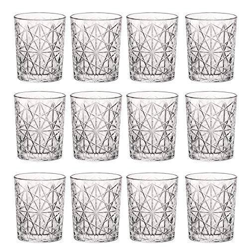 Bormioli Rocco Lounge Jahrgang Klar Double Old Fashioned Tumblers - 370ml - Packung mit 12 - 12 Double Old Fashioned Gläser