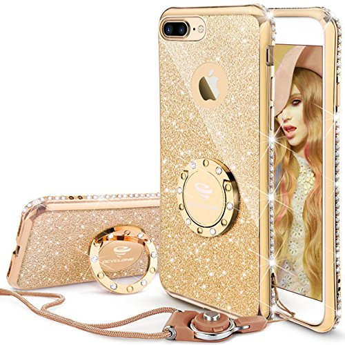 OCYCLONE iPhone 7 Plus Case for Women, iPhone 8 Plus Case for Women, Glitter Cute Case Girls with Stand, Bling Diamond Rhinestone with Ring Kickstand iPhone 7/8 Plus Case - Gold