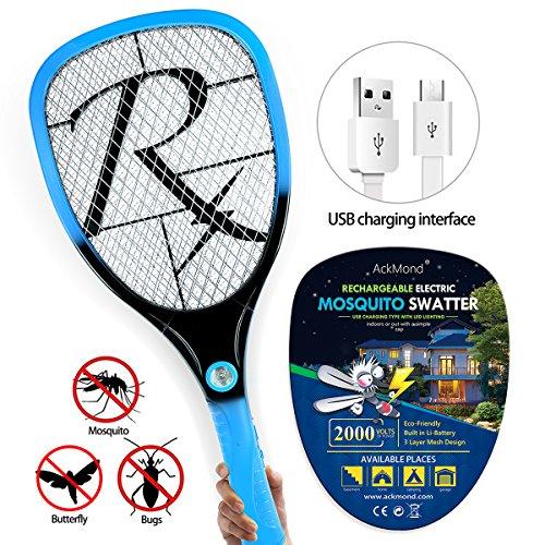 Samoa Matamoscas eléctrico mosca raqueta mosquitos moscas USB con luces Nuevo
